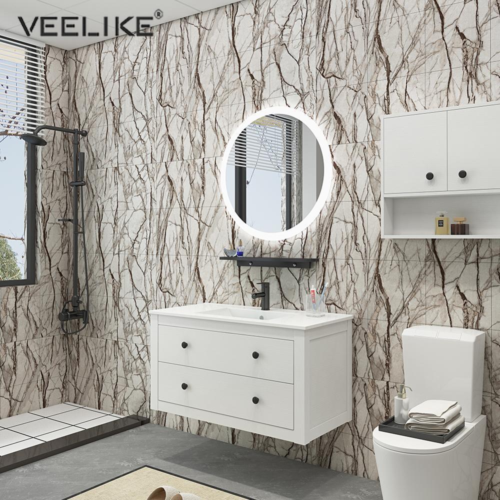 Marble Flooring Tiles Stickers Bathroom Kitchen Waterproof Vinyl Self-adhesive Wallpapers Floor Wall Sticker Ground Decor Film