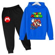 Moda per bambini ragazzi ragazze stampa felpe con cappuccio Super Mario felpe Casual top Pullover per bambini abbigliamento sportivo regalo per bambini Set