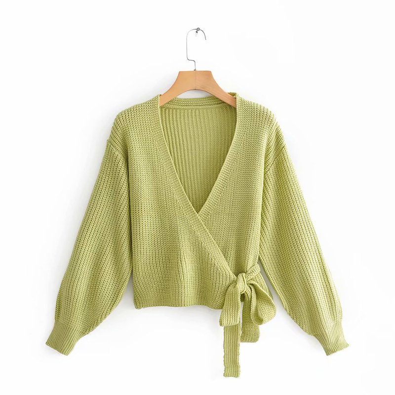 Women's Sweaters And Pullovers Women's Deep V-neck Bandage Lace Up Knit Robes 2019 Spring And Autumn Sweater Pullover
