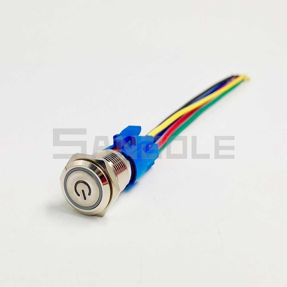 Bouton poussoir en métal 16mm réinitialisation momentanée/anneau de verrouillage lampe à LED symbole de marque de puissance voiture moteur automatique PC démarrage électrique
