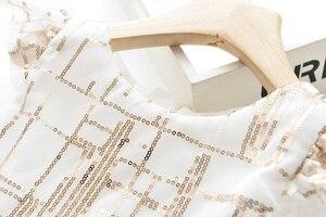 Image 3 - الحب DD & ملليمتر الفتيات فساتين 2020 الصيف جديد ثوب أطفال بنات بسيط التدرج الترتر شبكة أكمام فستان الأميرة الحلو