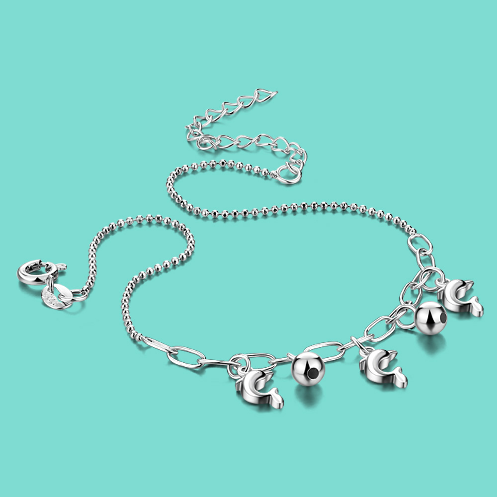 Cute Silver Jewelry Girl 925 Sterling Silver Anklet Summer Accessories Solid Silver Chain Dolphin Pendant Anklet party bijoux
