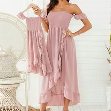 Одинаковая одежда для семьи с открытыми плечами платья мамы