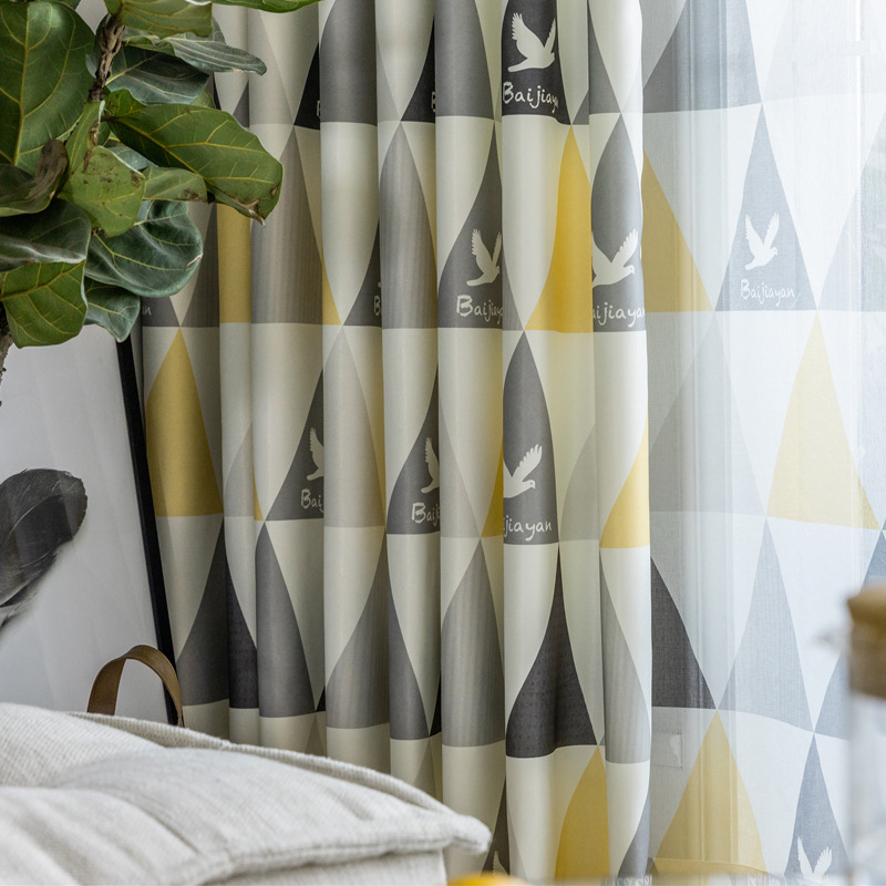 Printing Geometric Semi-shading Curtains For Living Dining Room Bedroom.