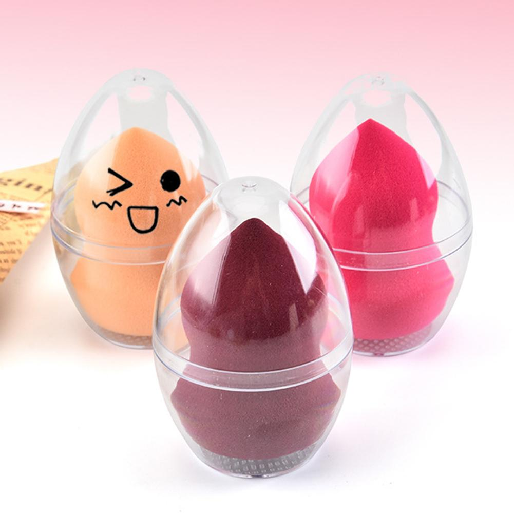 1PC Egg Shaped Transparent Empty Makeup Sponge Shaper Puff Holder Stand Storage Box Cosmetic Egg Puff Case