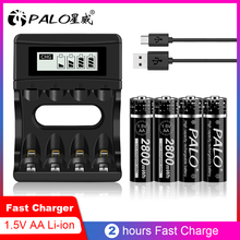 PALO بطارية ليثيوم قابلة لإعادة الشحن AA ، 1.5 فولت ، 1.5 فولت ، ألعاب إلكترونية ، جهاز تحكم عن بعد ، إضاءة LED ، ماكينة حلاقة ، راديو ، جديد