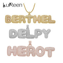 LuReen Custom Name Bubble Letters Pendant Necklaces Men Women Cubic Zircon Necklace Gold Silver Rope Chain Tennis Chain Jewelry