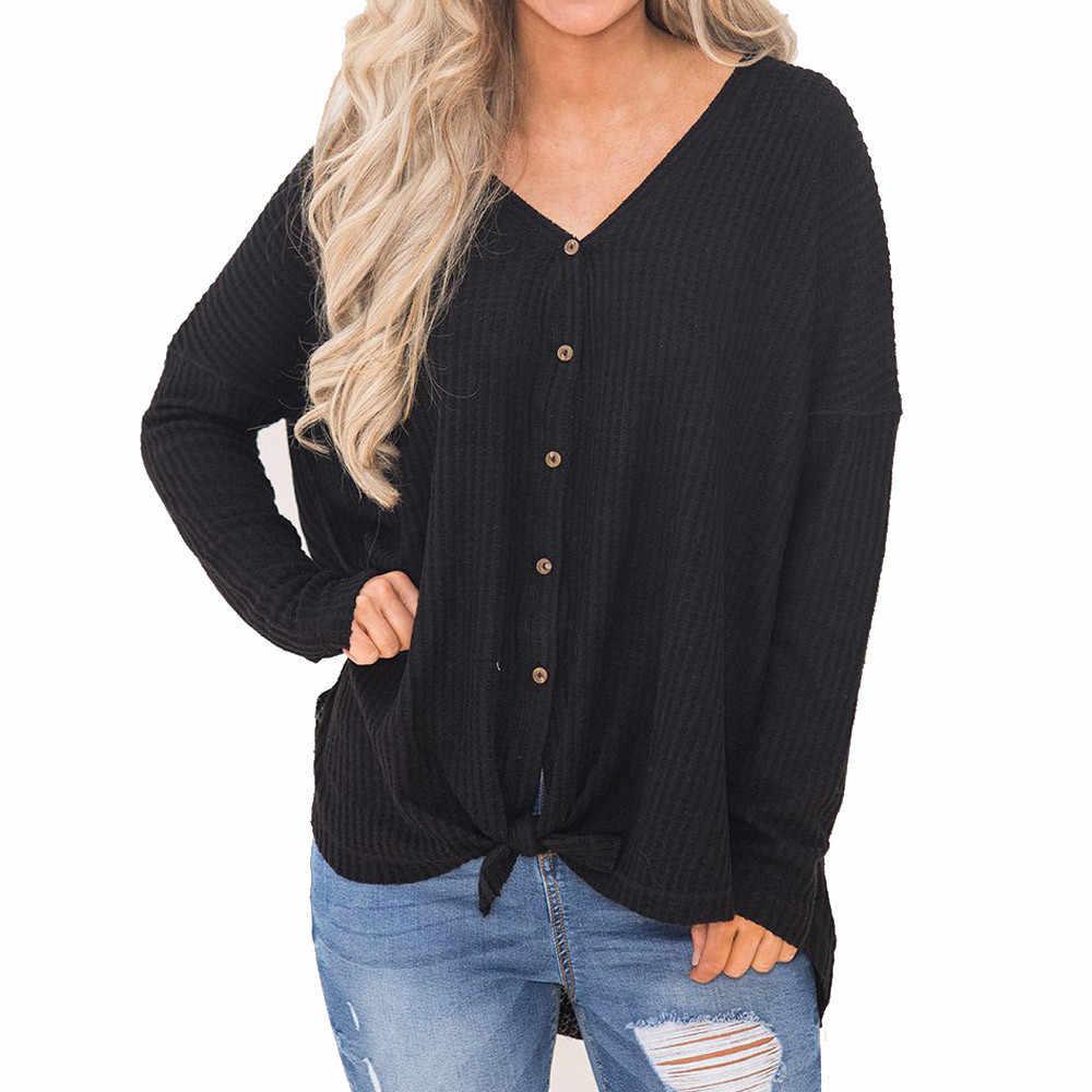Новый женский свитер, Свободная трикотажная туника, блузка с узлом Хенли, топы, простые рубашки с крыльями летучей мыши, зимняя одежда, осень, 19AUG19