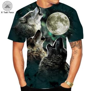 цена на 3D Print Tshirt Summer new T shirt Men Streetwear Round Neck Short Sleeve Tees Tops Funny Animal Male Clothes Casual Wolf tops