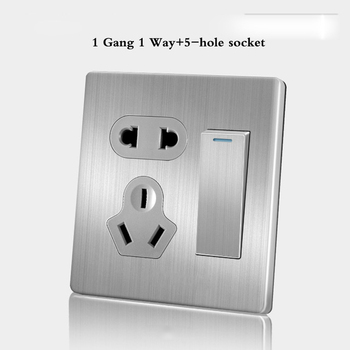 86 Type wall switch panel Five hole socket with switch Brushed Stainless steel 5-hole socket Household 1 2 3 4Gang 1 2Way switch 16