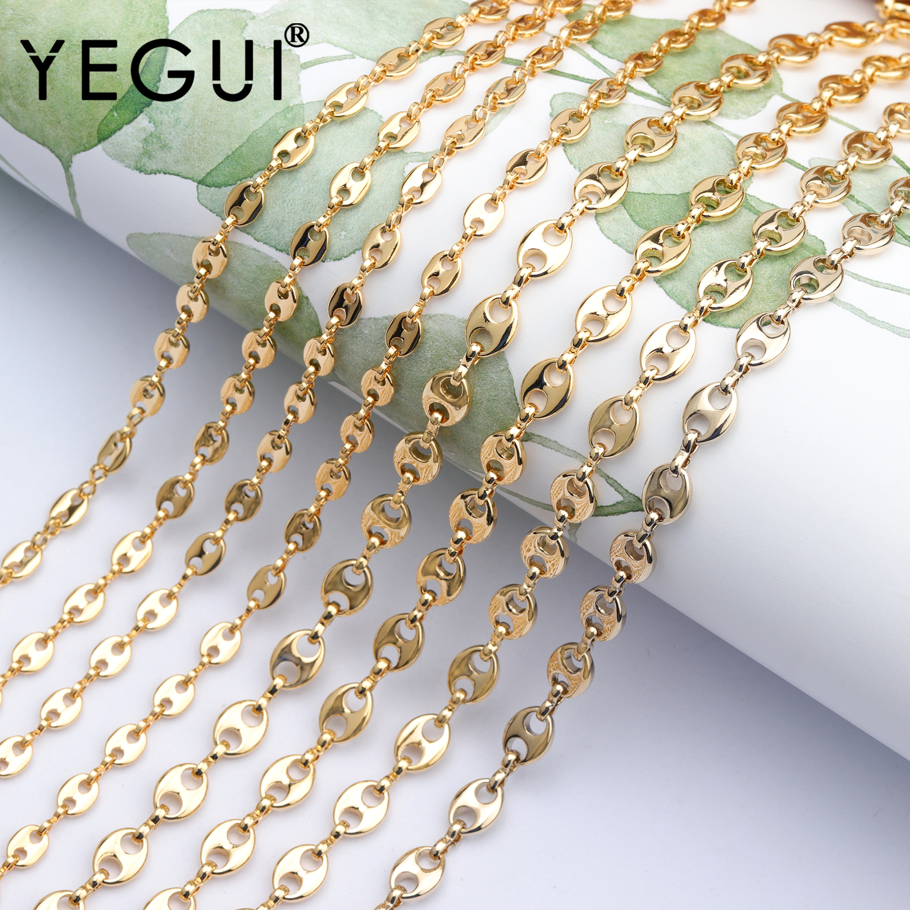YEGUI C72,jewelry Accessories,diy Chain,18k Gold Plated,hand Made,copper Metal,charms,diy Chain Necklace,jewelry Making,1m/lot