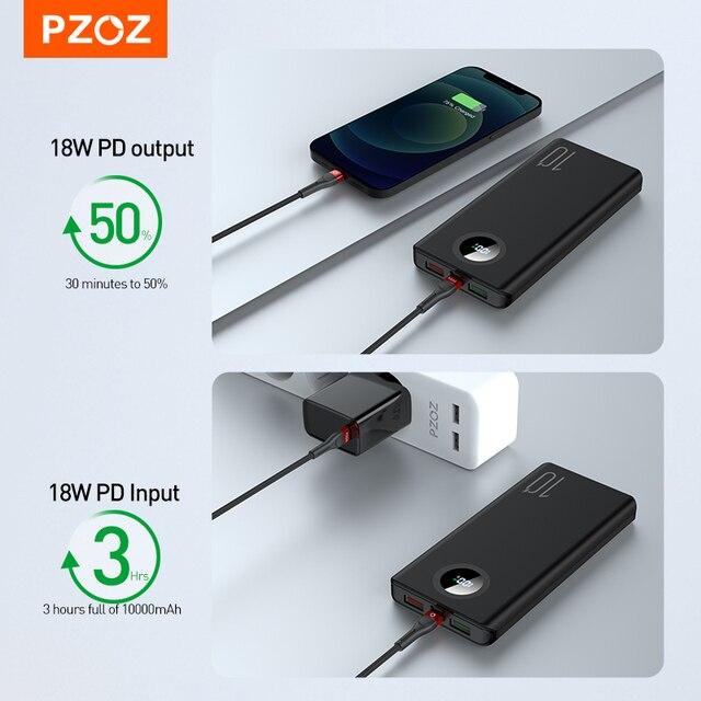 PZOZ 5A Power Bank 10000mAh Fast charging Mobile Phone External Battery Portable Charger 20000mAh PowerBank For iPhone Xiaomi Mi 4