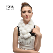 Модный зимний шарф для женщин, мягкий теплый меховой Палантин из натурального кролика, шарф с помпонами, женские шарфы, шали