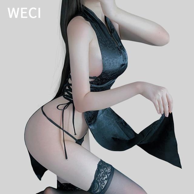 WECI Cheongsam Sexy Dresses Body Under Wear Erotic Women Silk Robes Tree Beautiful Slut Satin Role Play Classical Dance Costume 6