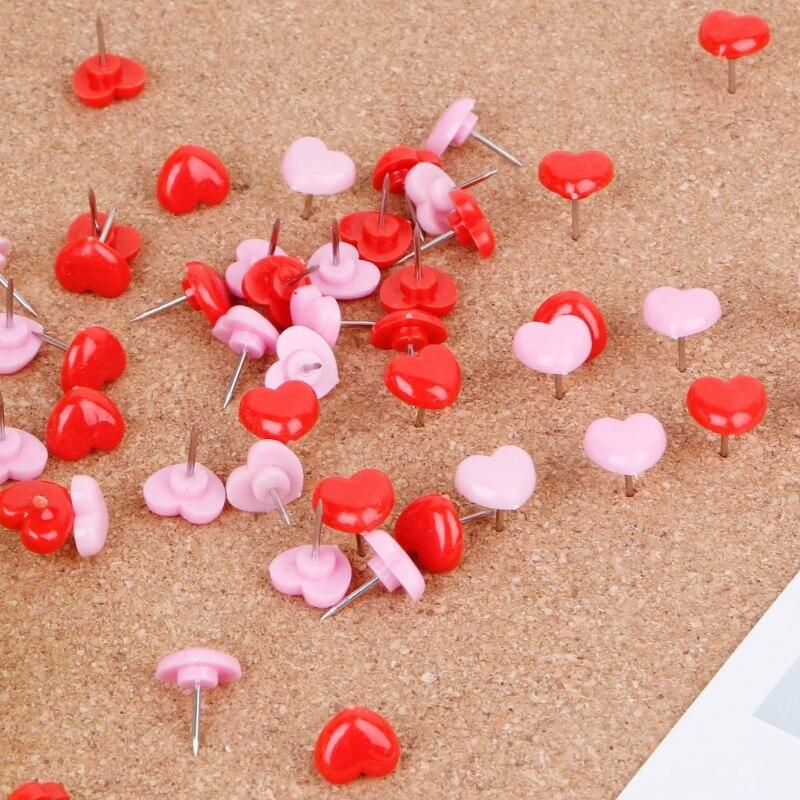 2021 Hot Sale 50 Pcs Heart Shape Plastic Quality Colored Push Pins Thumbtacks Office School