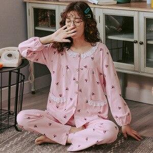Image 3 - 2019 outono inverno conjuntos de pijamas femininos flor impressão luxo feminino duas peças camisas + calças camisola macio bonito rosa pijamas