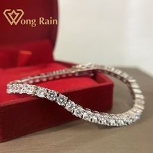 Wong Rain 925 Sterling Silver Created Moissanite Gemstone Bangle Charm Wedding Bracelet Fine Jewelry Wholesale Drop Shipping