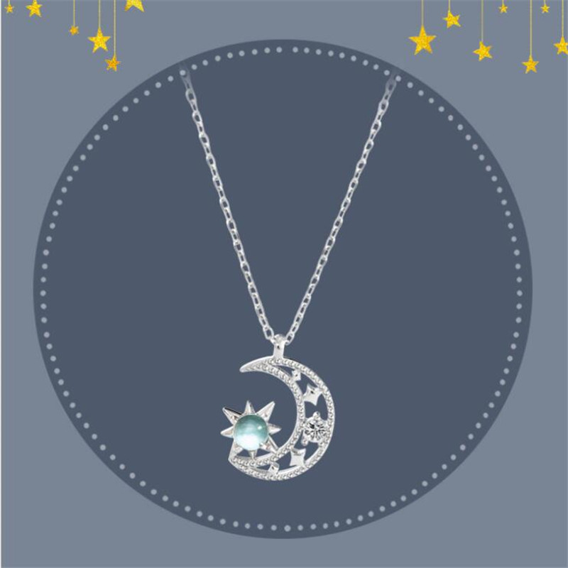 New Beautiful Exquisite Blue Moonlight Light Luxury Hand Made 925 Sterling Silver Jewelry Moon And Star Crystal Necklaces  H534
