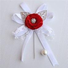 7piece/lot Classic Red Silk Ceremony Flower Wedding Groom Groomsmen Butonniere Handmade Men Suit Pearl Lapel Pin Corsage XHSL-P