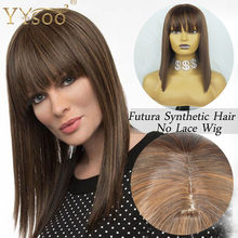 YYsoo Short Futura Synthetic Hair Full Machine Made Bob Wigs With Bangs #4 Highlights #30 Color Silky Straight Ombe No Lace Wig(China)