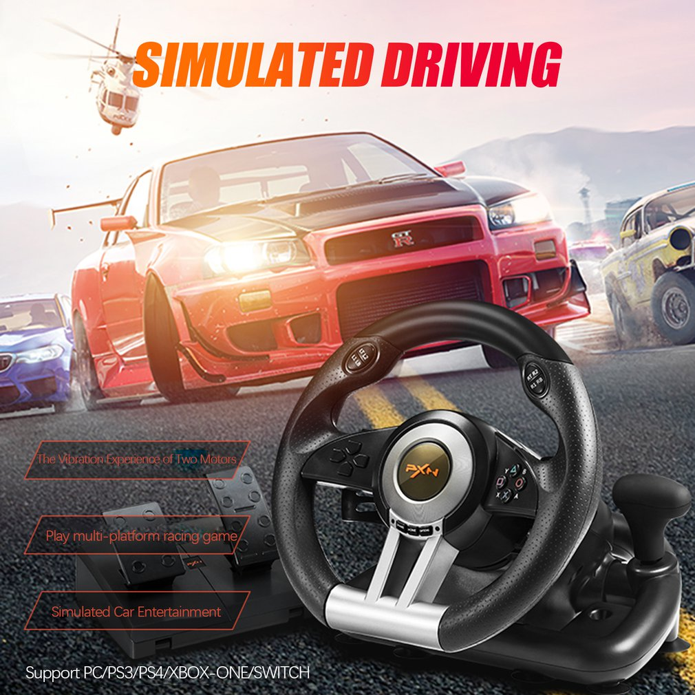 PXN-V3II Racing Game Steering Wheel USB Vibration Dual Motor Foldable Pedal Game Controller for PC/PS3/PS4/XBOX ONE/SWITCH image