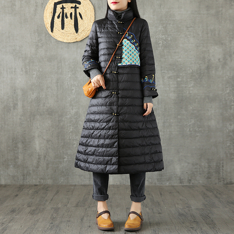 National Wind Retro Embroidered Mid-length Thin White Duck down Warm down Jacket Chinese-style Artistic Loose-Fit Coat