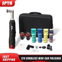 SPTA Cordless Mini Auto Polierer, 12V RO/DA Micro Cordless Kratzer Mörder Auto Polierer Mit 2 Batterie für polieren, Schleifen