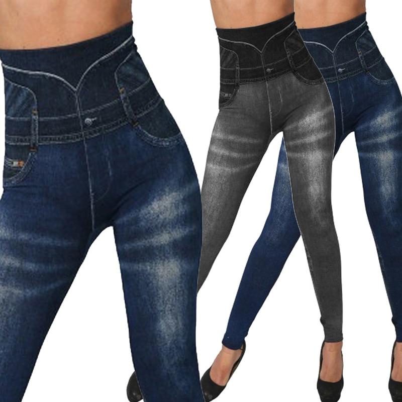 Sexy Faux Denim Jeans Leggings Women High Waist Sport Leggings Slim Female Workout Elastic Pants Plus Size Casual Pencil Pants