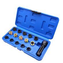 16pcs 14mm Spark Plug Rethread Reamer Tap Thread Kit Vehicle Auto Repair M14x1.25 Cylinder Head for Repairing Car Tools