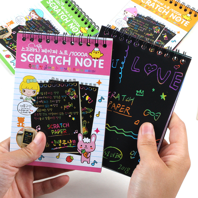 Creative Color DIY Coil Scratch Art Paper Children Sketch Book Sketchpad Scraping Painting Book Wholesale