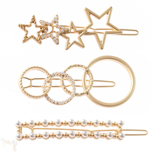 Fashion simple ladies hairpin metal pearl geometry round design wedding party bride atmosphere accessories