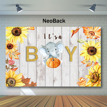 Rustic Wood Baby Shower Backdrop Fall  Autumn Pumpkin Photo Background Elephant Sunflower Photography Backdrops
