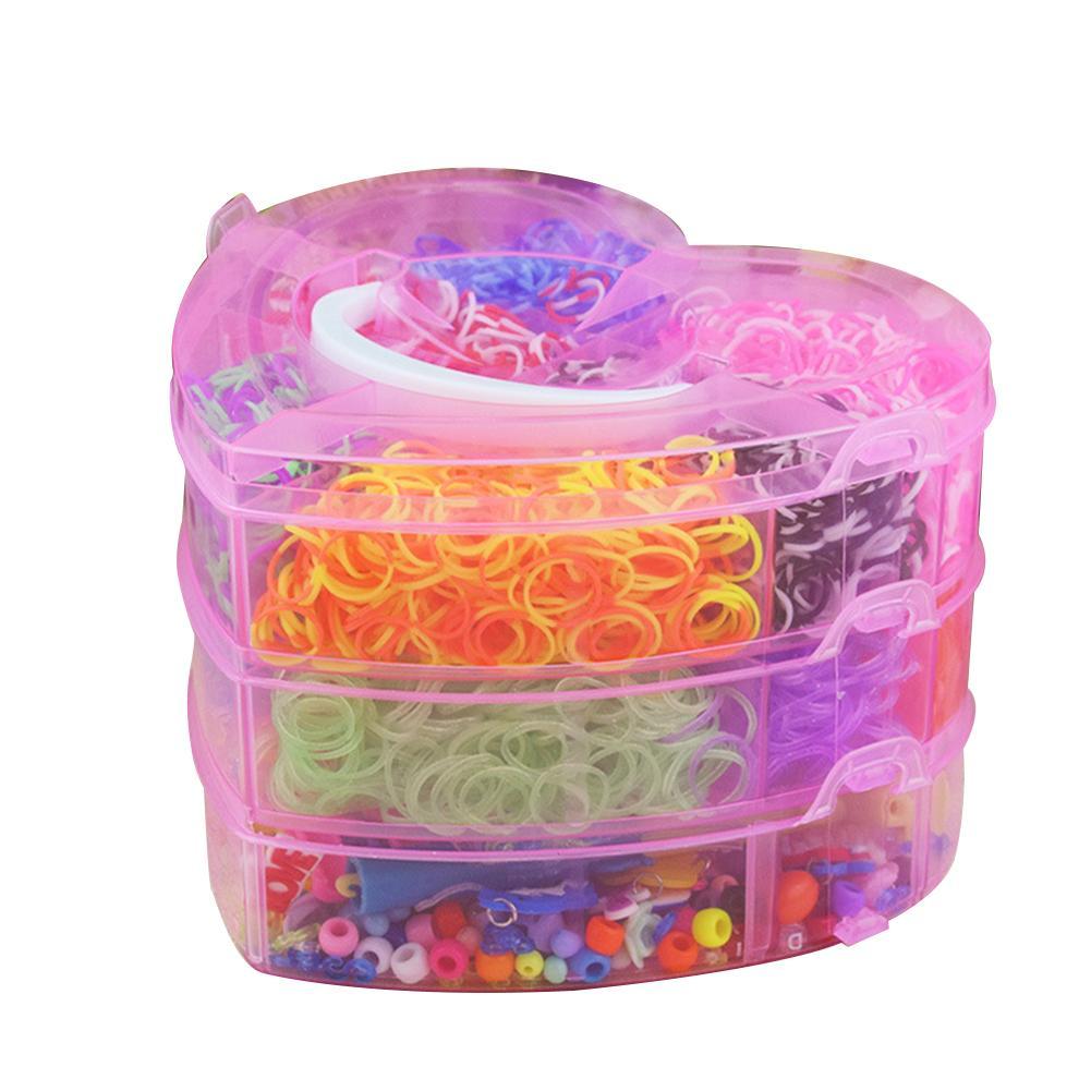 4000pcs Colorful Rubber Loom Bands Weave Elastic Make Bracelet Tool DIY Set Kit Box Girls Gift Kids Toys For Children 8 10 Year