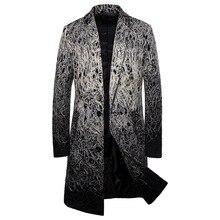 Mens Windbreaker Lapel Long Slim Coat Clothing Overcoat  Men