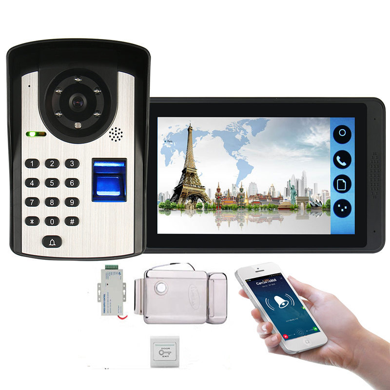 Video Intercom Doorbell Kits 7'' Monitor Wired Wifi Video Door Phone System IR Camera With Electric Lock +Exit+ APP Control