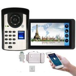 Zestawy wideo domofon 7 ''Monitor przewodowy wifi wideo drzwi system telefoniczny kamera na podczerwień z zamek elektryczny + wyjście + kontrola aplikacji