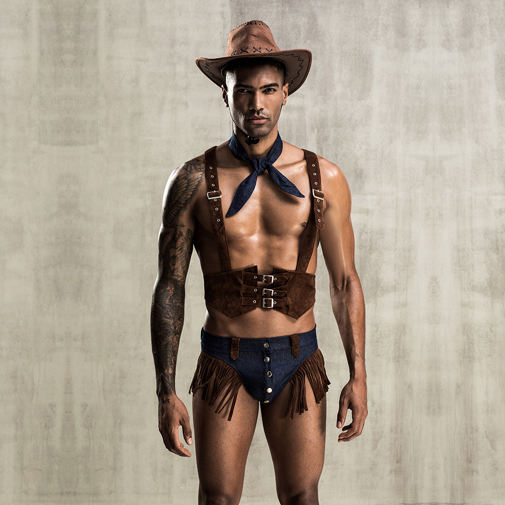 4Pieces Mens Role Play Sexy Cowboy Uniform Set Cosplay Gay Bar <font><b>Dance</b></font> Costume Outfit image