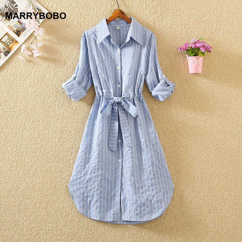 Herfst Winter Vrouwen Shirt Kantoor Jurken Casual Lange Mouwen Gestreepte Party Dress 2019 Vintage Midi Jurk Vestidos Plus Size