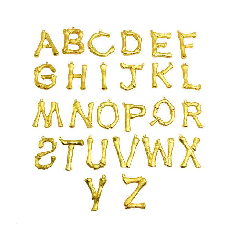 Gorąca sprzedaż duży bambusa list naszyjnik wisiorek dla kobiet złoty A-Z 26 inicjały kołnierz nazwa biżuteria alfabet naszyjniki Bijoux