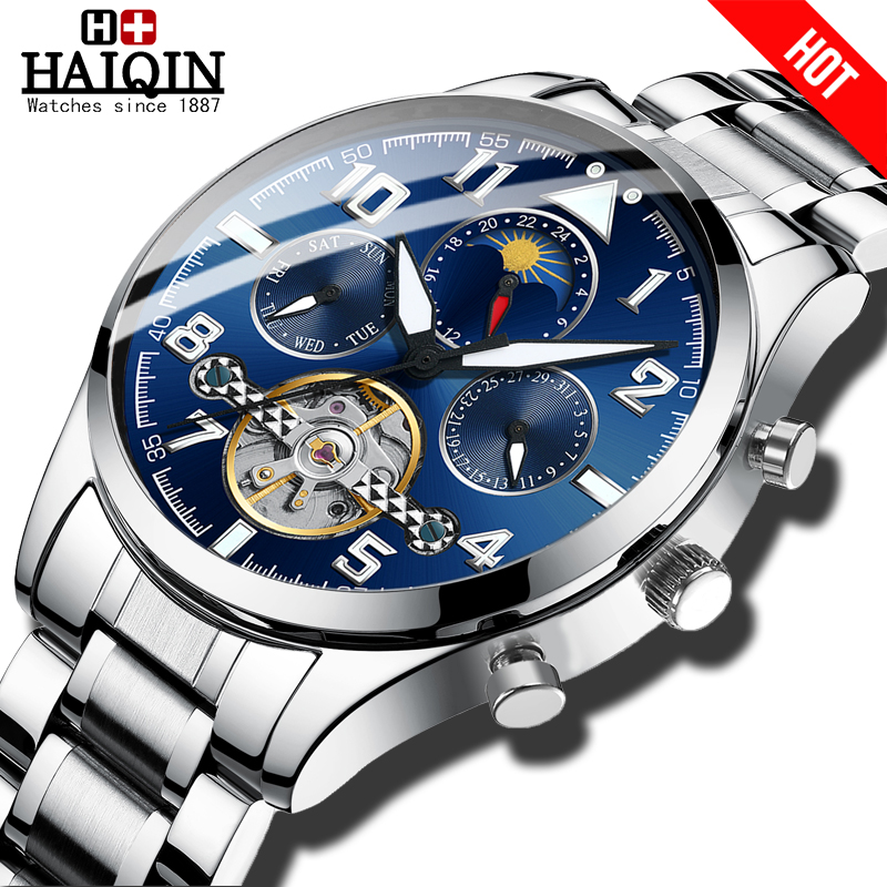HAIQIN Mechanical Mens watches top brand luxury watch men Business Military wristwatch men Tourbillon Fashion 2019 reloj hombres