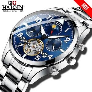 Image 1 - HAIQIN Mechanical Mens watches top brand luxury watch men Business Military wristwatch men Tourbillon Fashion 2019 reloj hombres