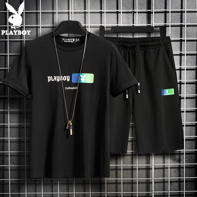 2020 New Playboy Men's High-quality Comfortable Breathable Cotton Short-sleeved T-shirt   Casual Shorts Suit