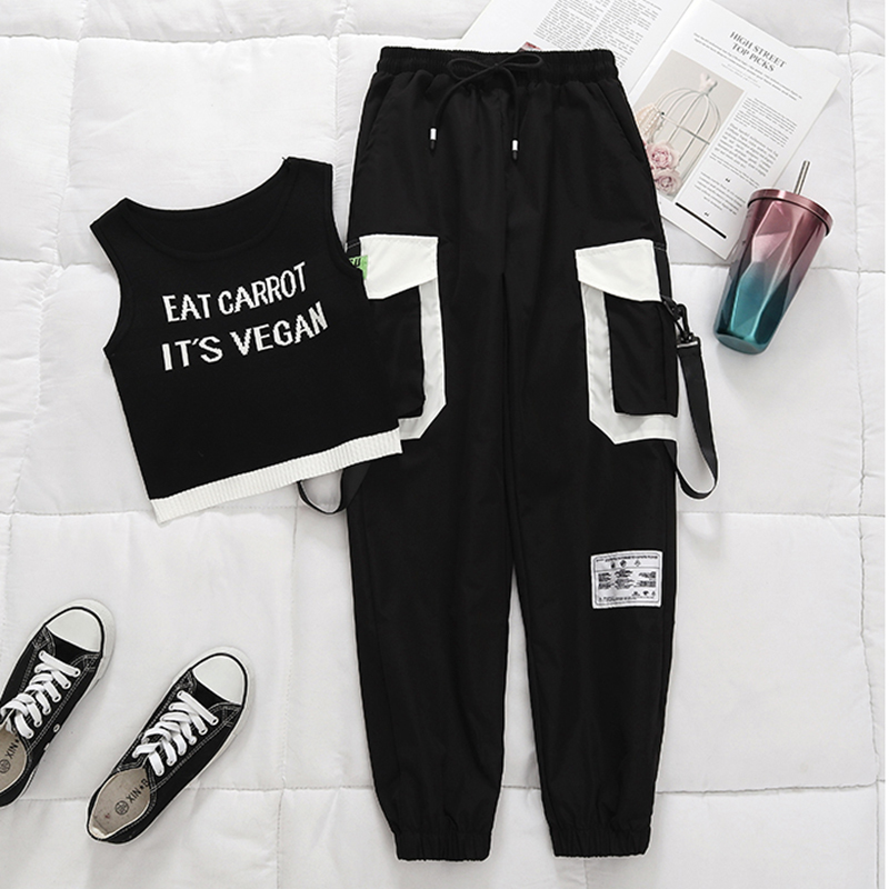 Spring Black Ribbon Cargo Pants Women High Waisted Joggers Women Women's Summer Big Pocket Sweatpants