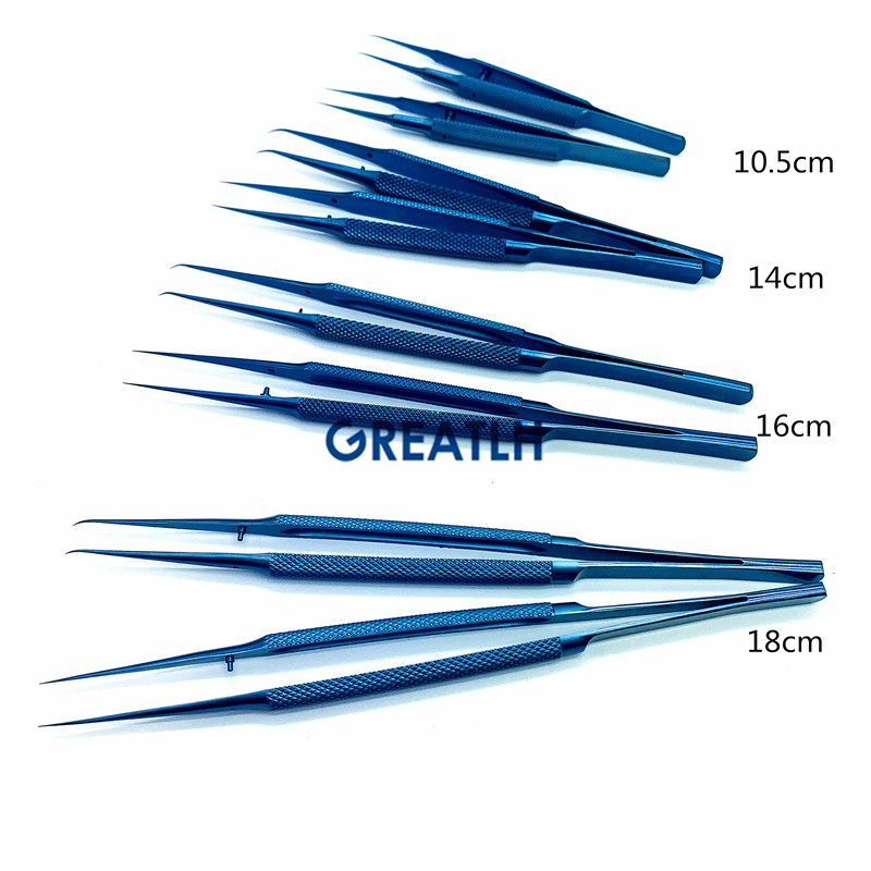 Ophthalmic Forpces Dental Curved Straight Titanium Tweezers Surgical Instrument Microsurgical Tools 12cm 14cm 16cm 18cm