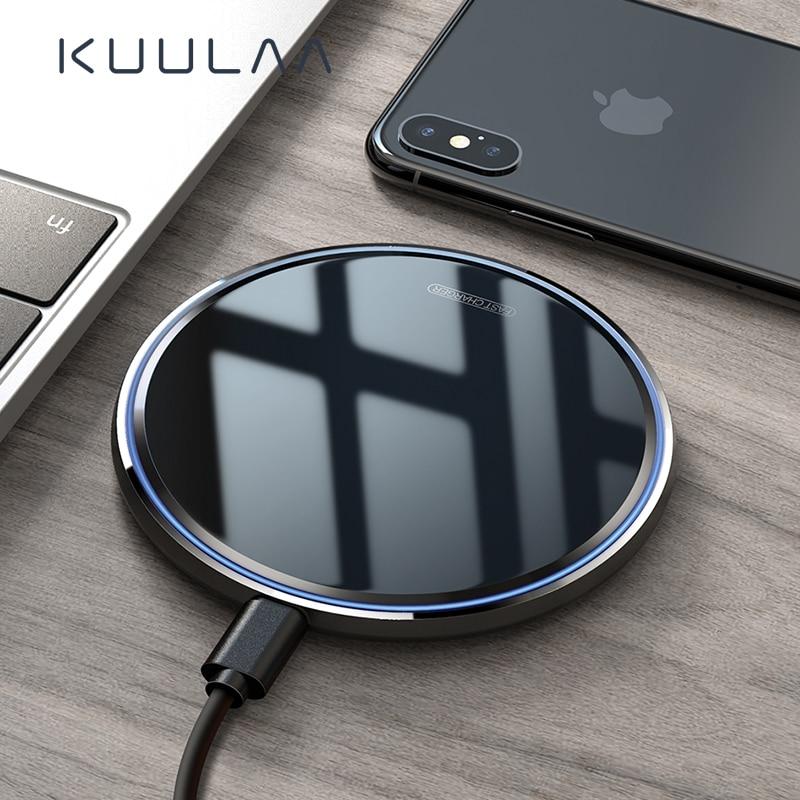 Kuulaa 10 w qi carregador sem fio para iphone x/xs max xr 8 plus espelho almofada de carregamento sem fio para samsung s9 s10 + nota 9 8