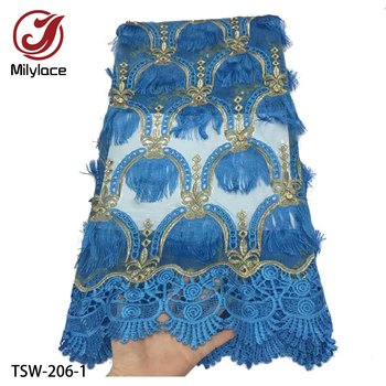 African Cord Lace Fabric Latest African Tassel Laces 2019 High End Guipure Lace Nigerian Lace Fabrics for Women Dress TSW-206