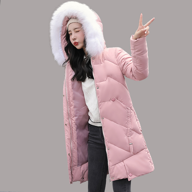 Winter Long Parkas jacket 2019 winter new down parkas womens thicken warm down cotton coats female hooded solid down jackets