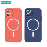 USAMS Magnetic Silicon Case For iPhone 12 12 Mini 12 Pro Magsafe Phone Protective Back Cover For iPhone 12 Pro Max Full Case