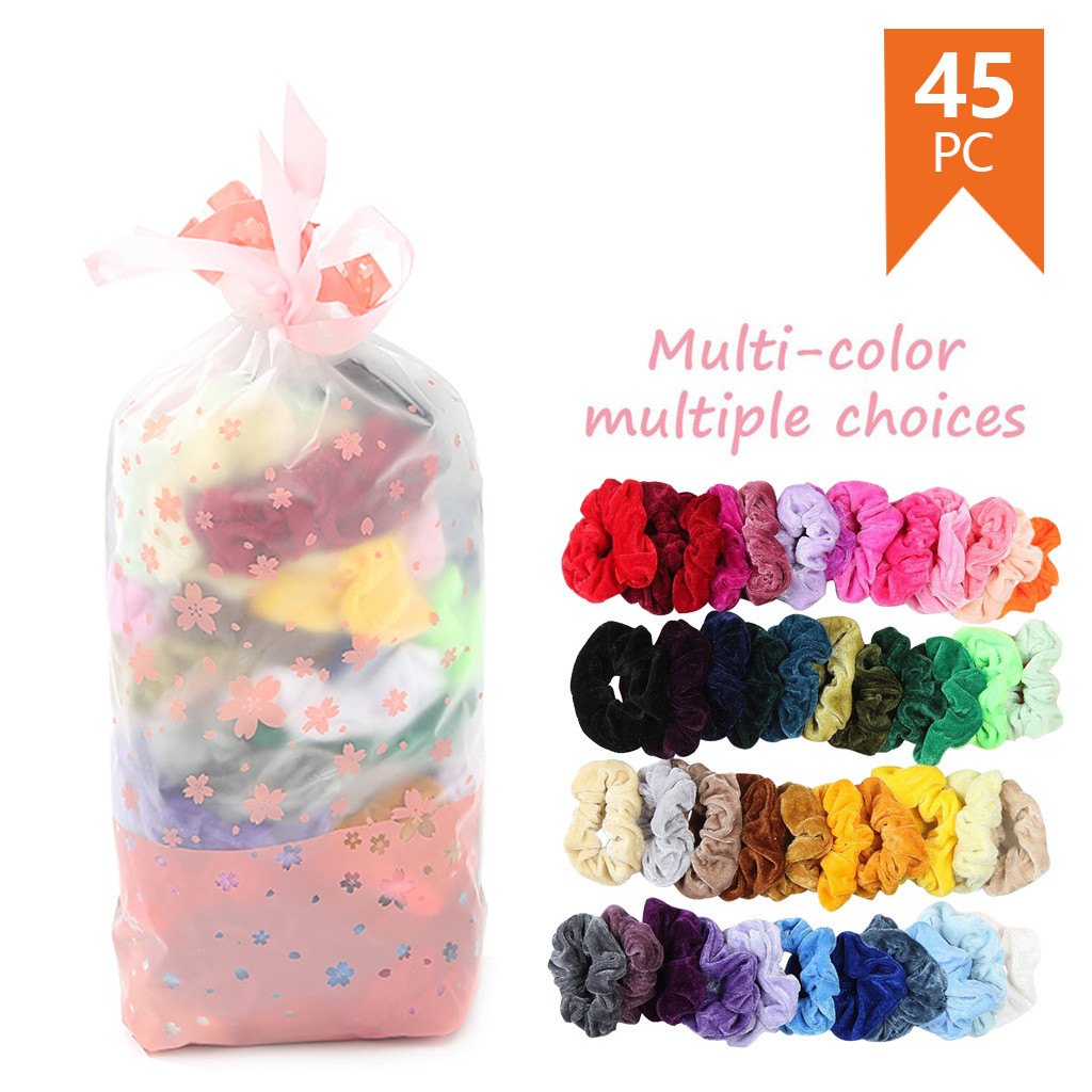 45 Pcs Vintage Hair Scrunchies Elastic Velvet Scrunchie Pack Women Elastic Hair Bands Girl   Headwear   Plain Rubber Ties &&7