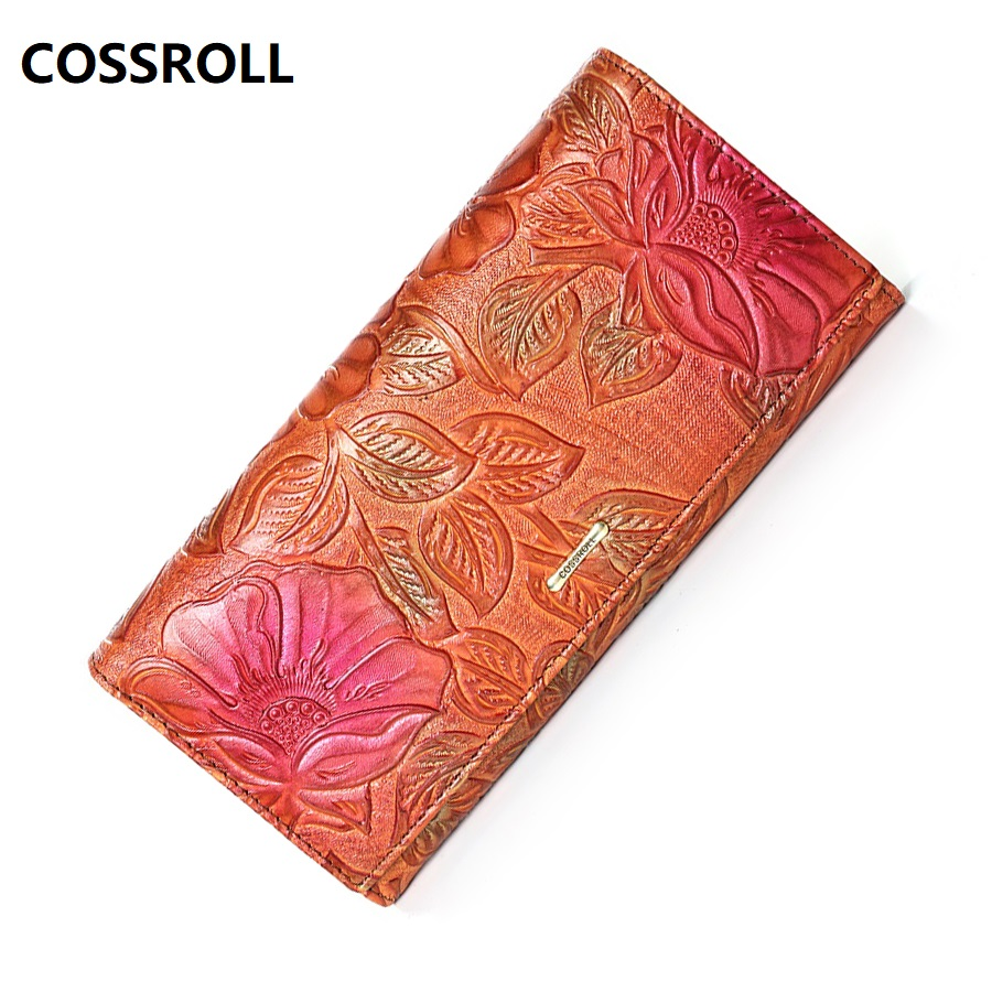 Women Wallets Floral Female Purse Long Cow Leather Wallet Women's Genuine Leather Wallet